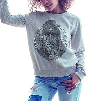 Viento Real Captain Damen Sweatshirt (Grau, M)  Amazon.de  Bekleidung dbdd4ea109