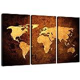 Visario Leinwandbilder 1162 Bild auf Leinwand Weltkarte, 160 x 90 cm, 3 Teile