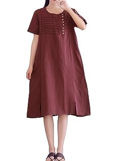 10da7ff8dbd YUHEYUHE Women s Casual Loose Short Sleeve Clothes Summer Soft Cotton Linen  Midi Dress