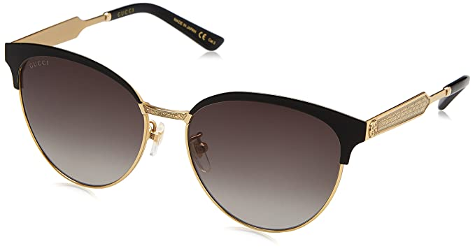 2debd3db04 Gucci Women s Clubmaster Gucci GG0074S GG 0074 S 002 Gold Black Sunglasses  57mm