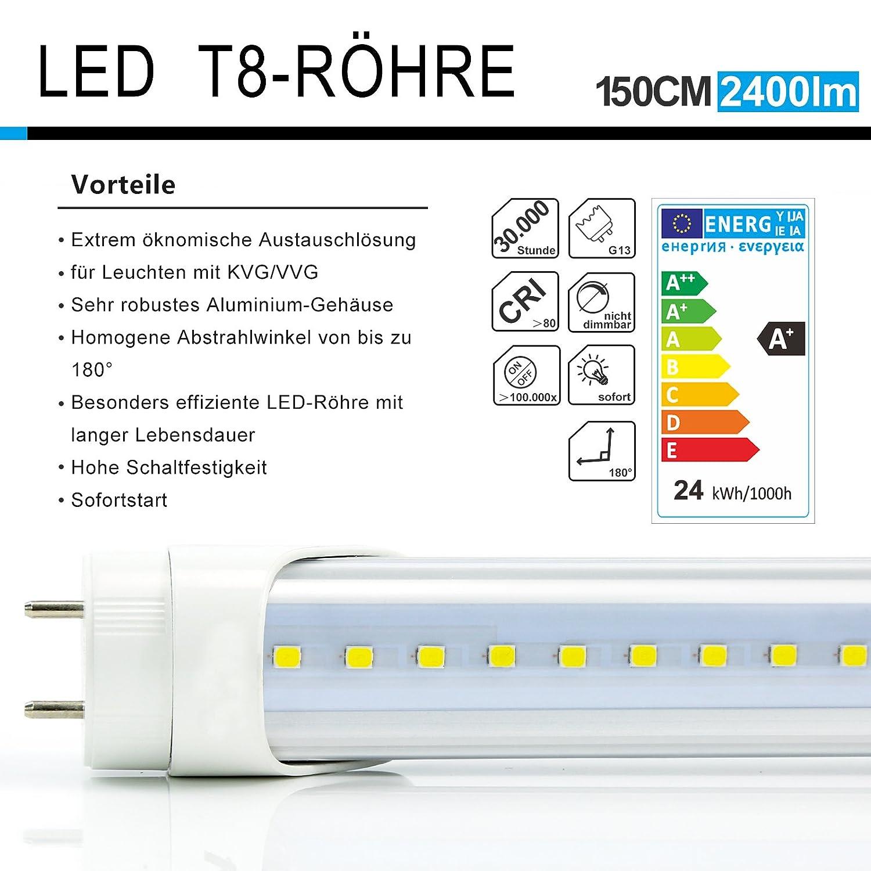 2x Vkele Tubos fluorescentes LED 150cm Luz diurna Neutral Blanco 4000K 23 vatios - Tubo de neón 58 vatios Reemplazo para T8 Lámpara de rejilla Lámpara de ...