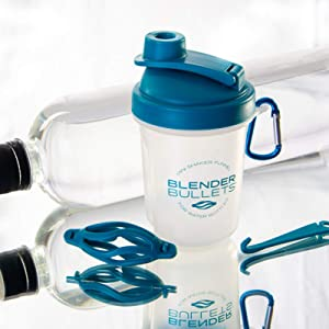 Blender Bullets | Reusable Protein Shaker Mixing Whisk | Fits Most Water Bottles | Includes Funnel | On The Go | BPA Free