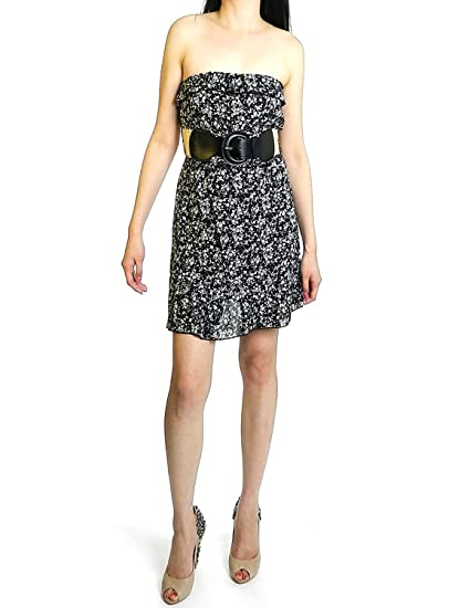 0b8e57968532 Final Touch Women's Floral Print Belted Tube Dress S Black And White Floral  at Amazon Women's Clothing store: Strapless Top With Belt
