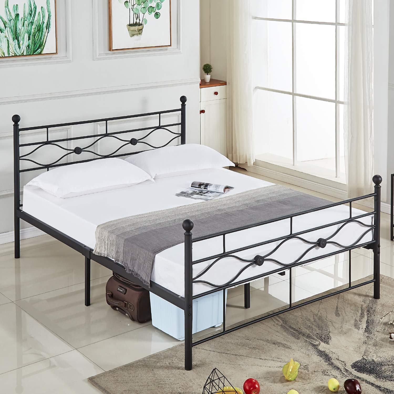 DIKAPA Full Size Bed Frame, Metal Platform Mattress Foundation Box Spring Replacement with Headboard .Five Years Warranty