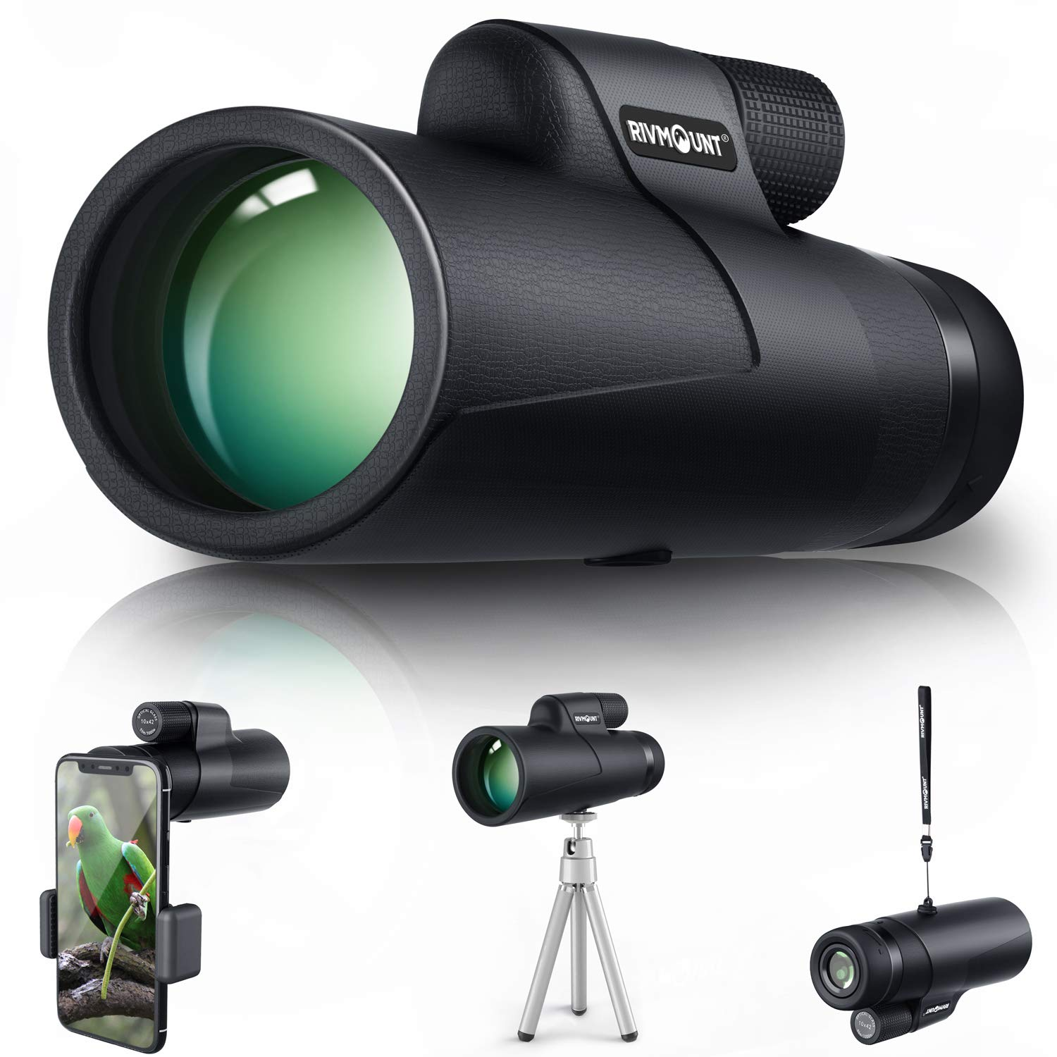rivmount 10x42 HD Monocular for Adult Compact Durable,Roof Prism with FMC BK4 Lens for Hiking Birdwatching Match Watching and Concert RIVMOUNT RMB Black 101