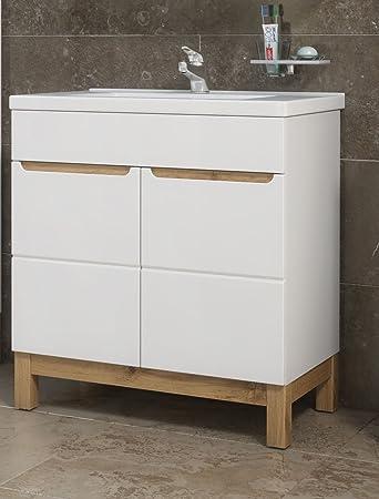 badmöbel bali 80 mit waschbecken keramik weiss/sonoma verschiedene ... - Küche Waschbecken Keramik