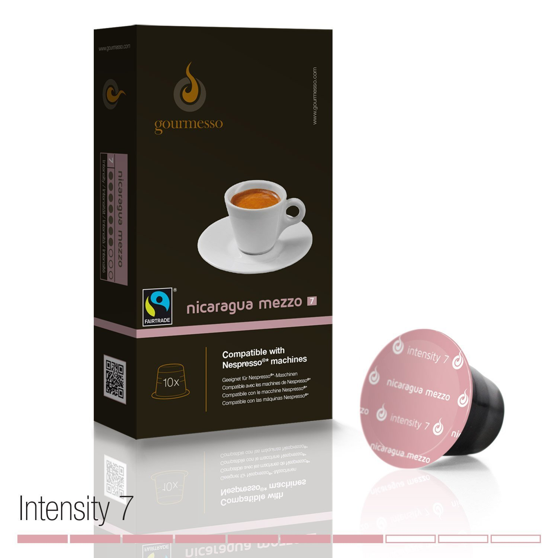 Gourmesso Nicaragua Mezzo (intensidad 7) - 10 Cápsulas de café compatibles Nespresso® - café justo: Amazon.es: Alimentación y bebidas
