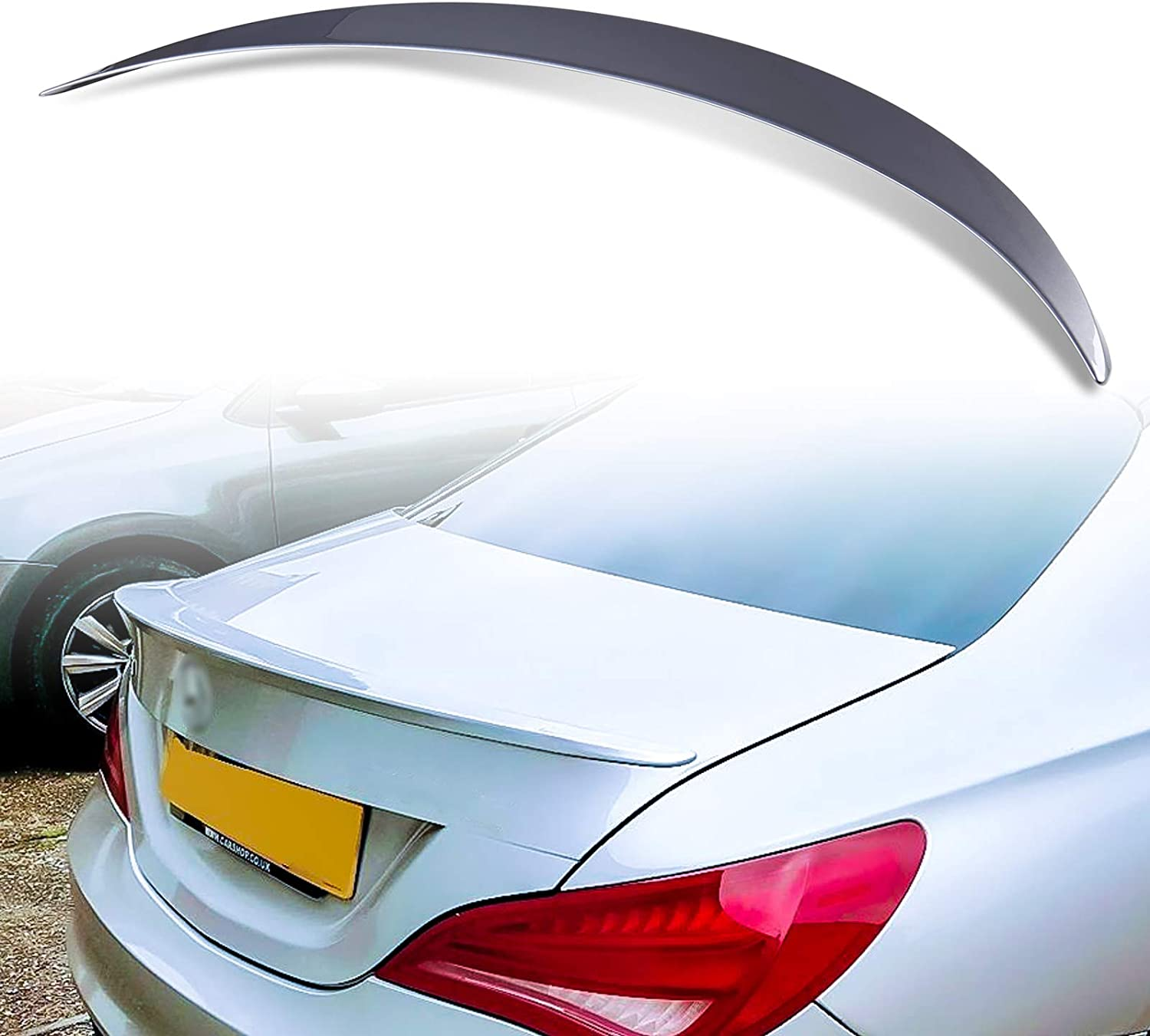 191 Cosmos Black Metallic Painted A Style ABS Trunk Spoiler For Mercedes Benz CLA-Class C117 Coupe 2013-2018 Factory Print Code