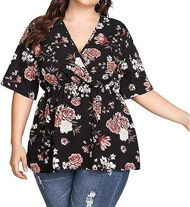 Oliviavan Camisetas de Mujer, Verano Blusa Mujer Cuello V ...