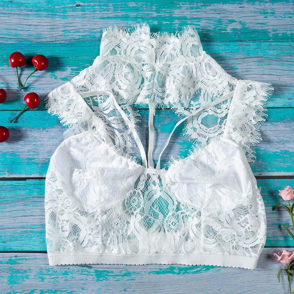 Women Tank Tops Sleeveless Lace Splice V-Neck Bra Vest T-Shirt Crop Blouse (L, White) by Yihaojia Women Blouse (Image #7)