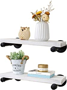 Mkono Floating Shelves with Industrial Pipe Brackets Rustic Set of 2, Wall Mounted Wood Shelving Storage Home Decor for Living Room Bedroom Bathroom Kitchen Office, White