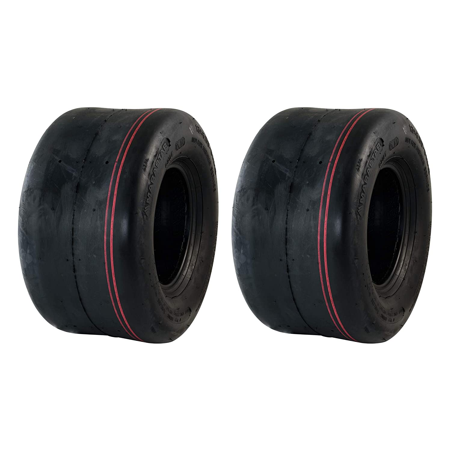 MARASTAR 20260-2pk Smooth 13x6.50-6 Replacement Lawnmower Tire Only, Black