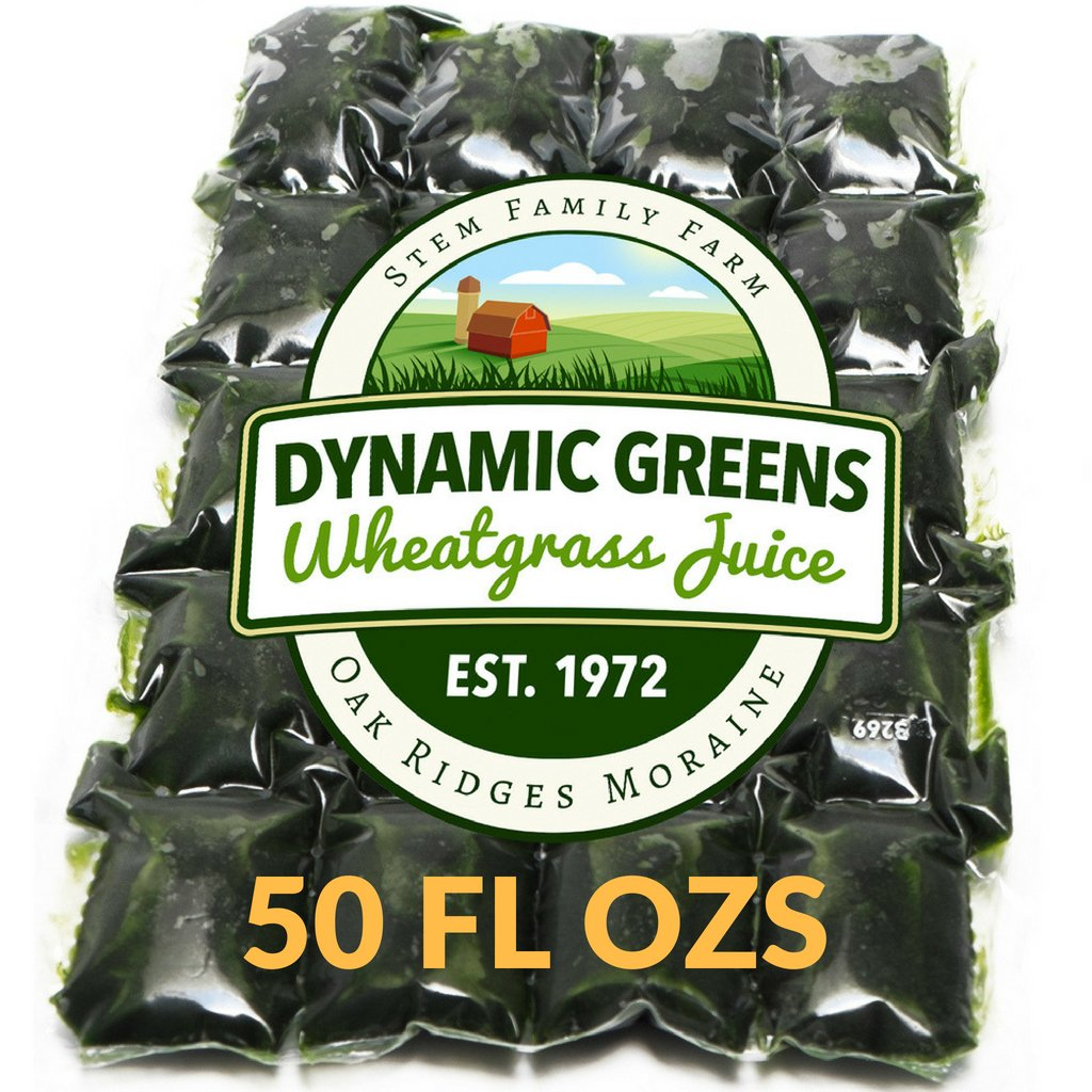 Dynamic Greens Wheatgrass Juice - 50 Fl Ozs - Just $1.99 Per Oz - 100% Wheatgrass Juice - Field Grown - Flash Frozen - Unpasteurized - 100 x 0.5 Fl Oz Portions by Dynamic Greens
