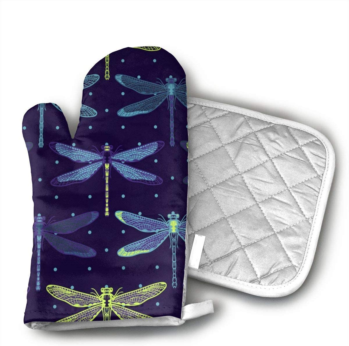 Wiqo9 Hand Drawn Stylized Dragonflies Pattern Oven Mitts and Pot Holders Kitchen Mitten Cooking Gloves,Cooking, Baking, BBQ.