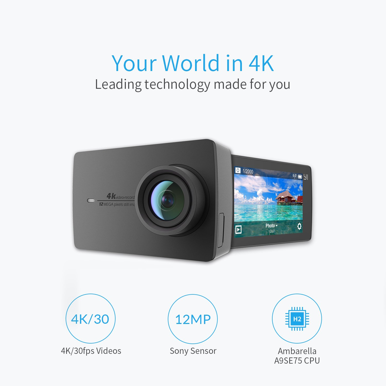 Yi 4k Action And Sports Camera 30fps Video 12mp Raw Xiaomi 2 Gen Image With Eis Live Stream Voice Control Black Photo