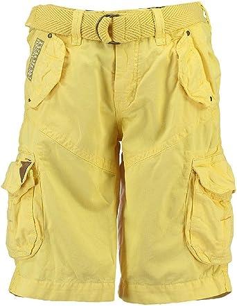 TALLA M. Geographical Norway Pantalones cortos de Carga geográficas hombres Noruega corto Bermuda polaco Hombres Yellow (amarillo)