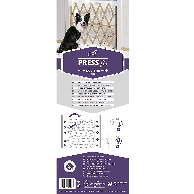 Hochwertiges Hunde-Treppenschutzgitter 84cm Hoch Verstellbar von 65cm bis zu 104cm in der Breite Natur-Holz PressFix Sicheres Absperr- und T/ürschutzgitter f/ür Hunde
