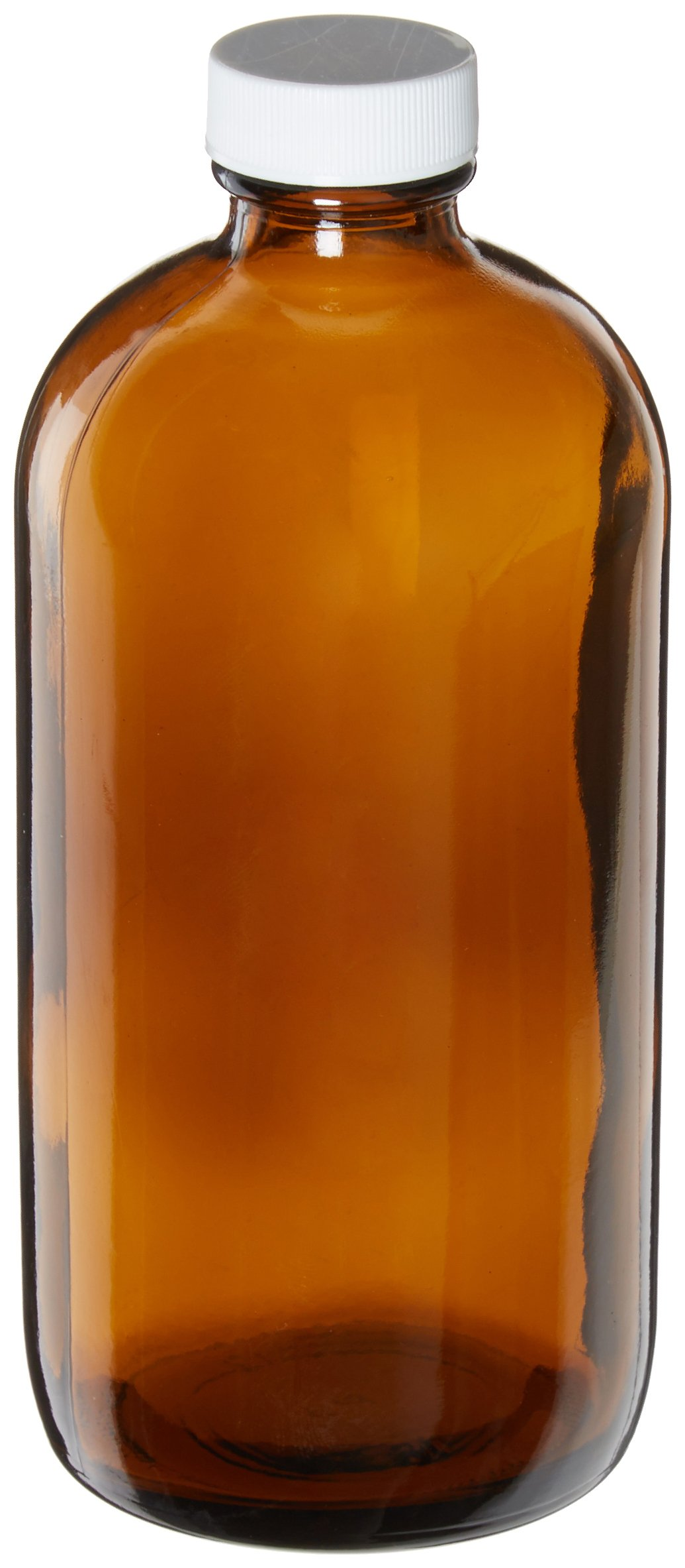 JG Finneran 9A-174 Amber Borosilicate Glass Standard Boston Round Bottle with White Polypropylene Closure and PTFE Lined, 28-400mm Cap Size, 5000mL Capacity (Pack of 12)