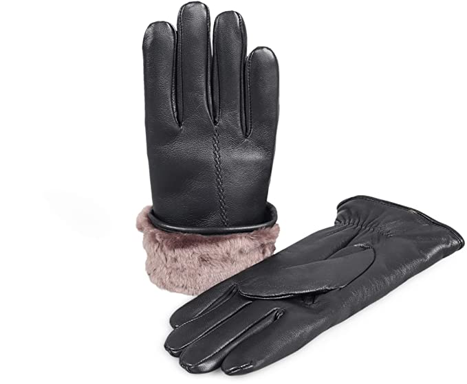 bf372a53f9d74 Zavelio Women's Premium Shearling Sheepskin Fur Lined Leather Gloves Black  Small