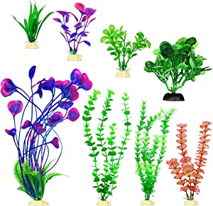 Artificial Fish Tank Plants Set, Plastic Aquarium Decoration, 8 Pack, Non-Toxic&Soft, Safe for Fish (A)