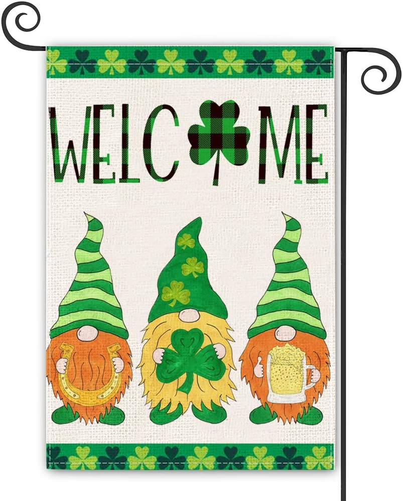 St Patrick's Day Garden Flag Welcome Gnome Garden Flag Vertical Double Sided, Gnomes Horseshoe Beer Shamrock Yard Outdoor Decoration 12x 18 Inch
