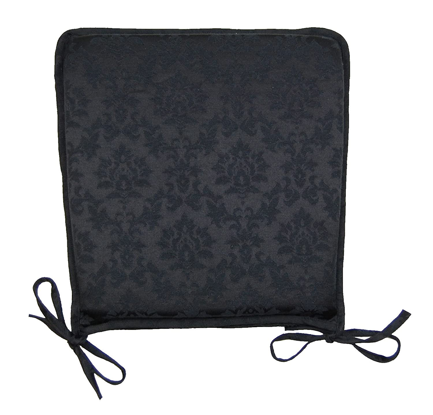 Damask Black Luxury Seat Pad 40x37cm (15.5x14.5inch) Approx Cache Designs