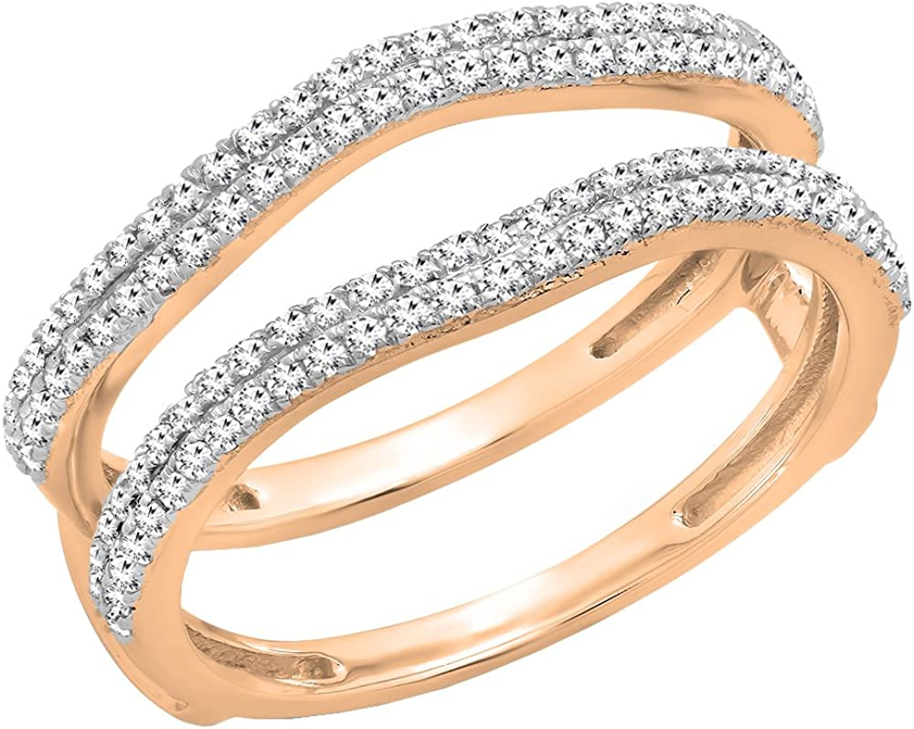 Dazzlingrock Collection 0.48 Carat (ctw) 10K Gold Round White Diamond Ladies Wedding Enhancer Double Ring 1/2 CT