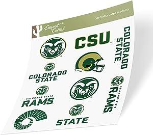 Colorado State University CSU Rams NCAA Sticker Vinyl Decal Laptop Water Bottle Car Scrapbook (Full Sheet)
