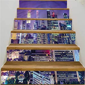 """LCGGDB Modern 3D Self-Adhesive Stained Glass Window Door Murals Sticker, Singapur City Night View Door Murals Stickers Wall Room Decal, 7""""x39.3""""x6 Pcs, for Stair Decal Stickers Decorative"""