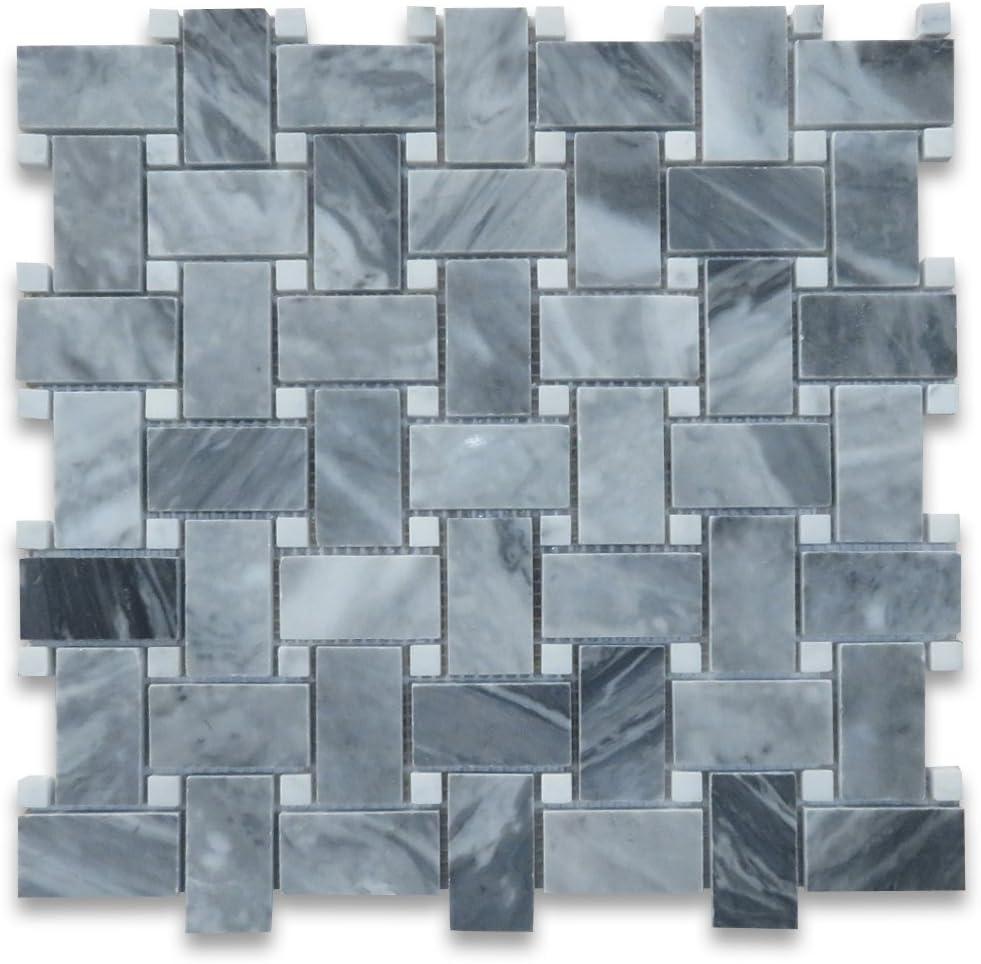 Stone Center Online Bardiglio Gray Italian Dark Grey Marble Herringbone Mosaic Tile 1x2 Honed Kitchen Backsplash Bathroom Floor Tile