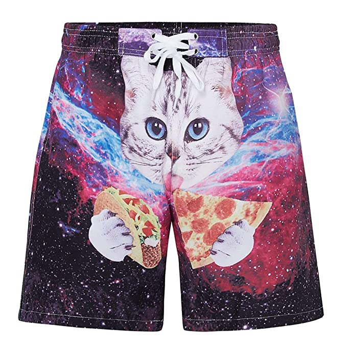 5082292857 UNIFACO Little Boys Kids 3D Printed Pizza Cat Swim Trunks Quick Dry Bathing  Suits Beach Board