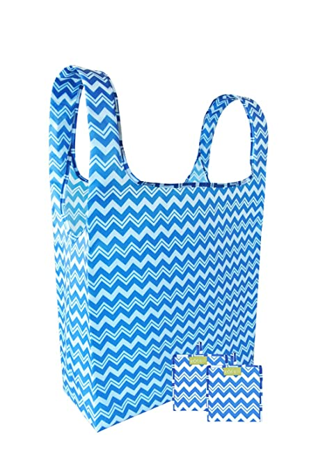 14845fea0f1 Image Unavailable. Image not available for. Color  Reusable Shopping Bags -  Set of 3 Foldable Grocery Bags with Attached Pouch ...