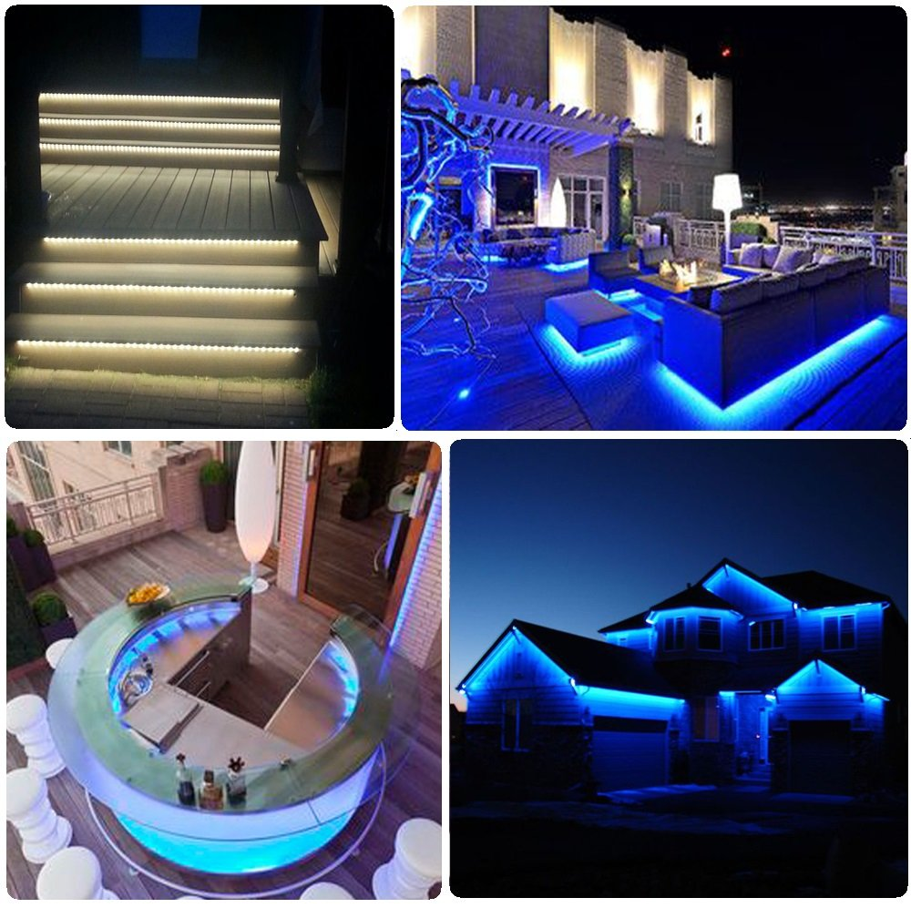 LED RGB Strip Lights,16.4 ft/5M, 5050 SMD 300pcs LEDs RGB, Waterproof Flexible Strip Light by EMANER, 24 Keys IR Remote Controller, DC 12V 5A Power Adapter, home cabinet Christmas holiday party decor
