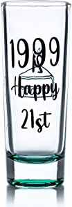 Greenline Goods Shot Glass – 21st Birthday Shot Glass  1999 Happy 21st  21st Birthday Party Decorations (1 Glass) – Funny Colored Shot Glass