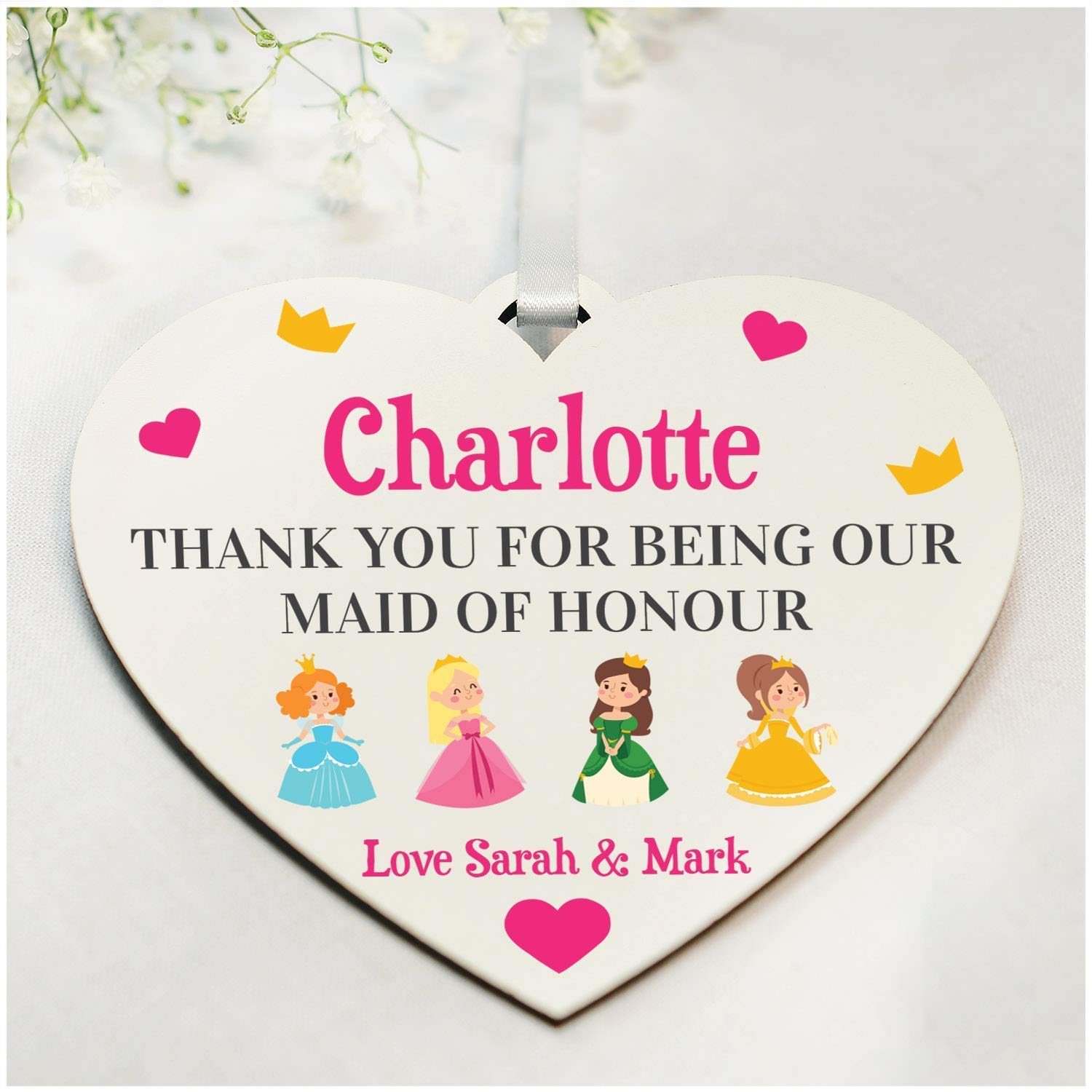 Personalised wedding heart Thank you gift Bridesmaid Flower girl Maid of honour