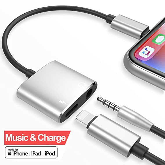 WBSZDS charging and headphone adapter for iphone 7  [Audio+Charge+Call+Volume Control ] Dual Earphone Cable Converter  Compatible for iPhone X/7 Plus