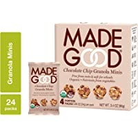 MadeGood Chocolate Chip Granola Minis, 6 Boxes (24 ct, .85 oz); Delicious and Wholesome Bite-Sized Treats Made with Organic and Allergy Friendly Ingredients Perfect for School Snacks and Lunches