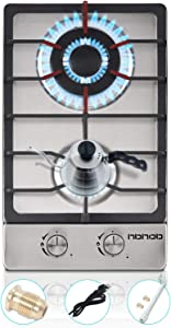 12 Inches Gas Stove Gas Cooktop 2 Burners, Portable Stainless Steel Built-in Gas Hob LPG/NG Dual Fuel Easy to Clean for RVs, Outdoor, Apartments.
