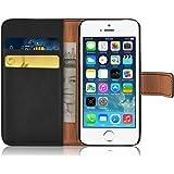 iPhone 5 Hülle, JAMMYLIZARD Retro Ledertasche Flip Cover für iPhone 5 / 5s / SE, SCHWARZ