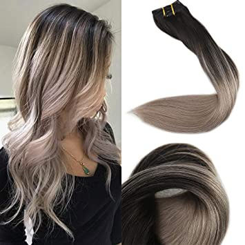 Full Shine 18 Zoll 10 Pcs 120gram Balayage Remy Extensions Clip In