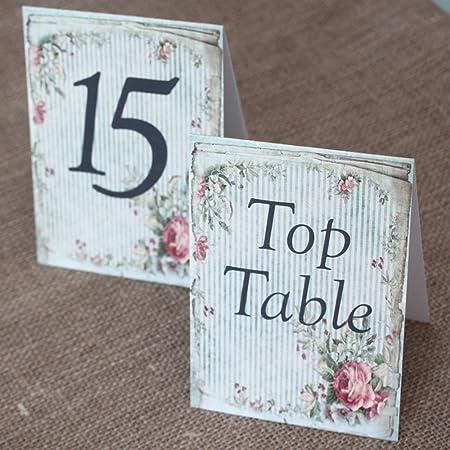 Números de mesa para boda vintage con fondo floral verde liso. Del ...