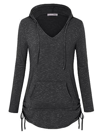 34ea80e33c5 Messic Women s Long Sleeve Tunic Hoodies Casual Pullover Sweatshirt ...