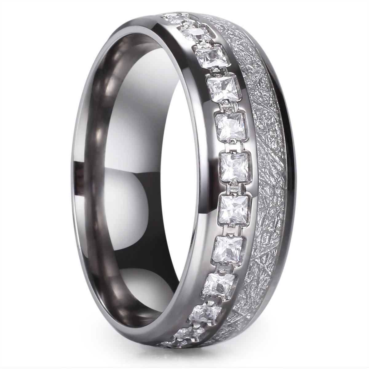 King Will Meteor 8mm Titanium Ring Domed Imitated Meteorite Wedding Band with Cubic Zirconia 7.5