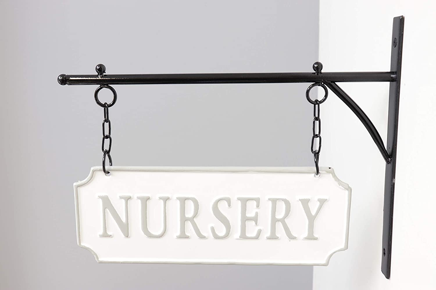 Silvercloud Trading Co. Rustic Hanging Double-Sided NURSERY Embossed Soft Gray on White Enamel Metal Sign with Bracket - Wall Decor - Room Label