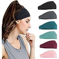 Kapsuen Haarband voor dames, 6-delige brede haarbanden, sporthoofdband, elastische haarbanden, antislip, ademende…