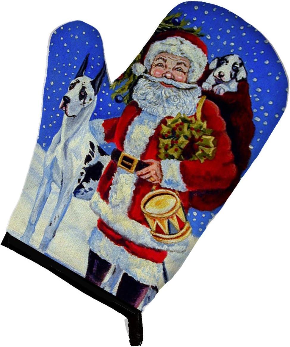 Caroline's Treasures 7083OVMT Harlequin Great Dane with Santa Claus Oven Mitt, Large, multicolor
