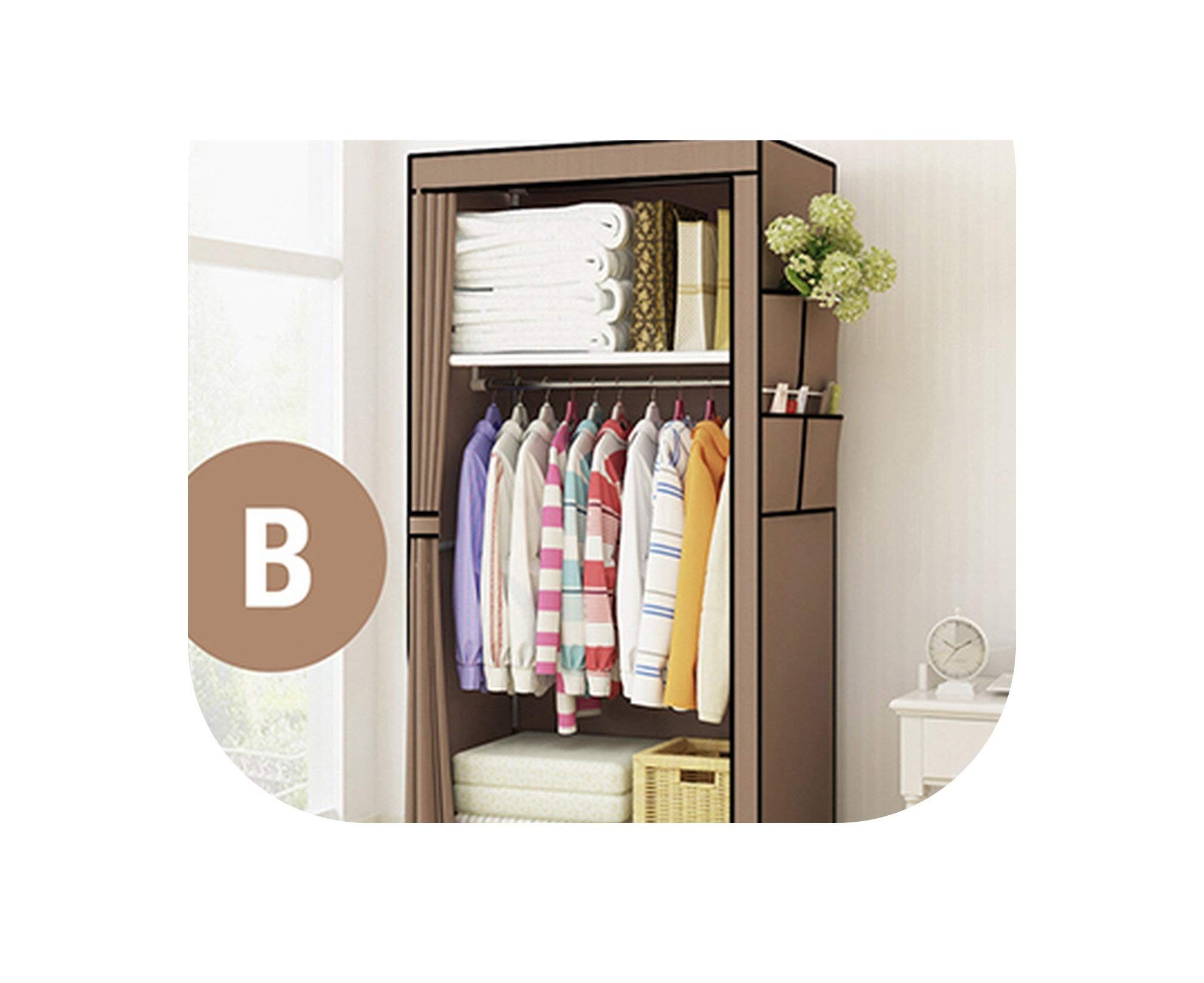 Miracle day Minimalist Modern Non Woven Cloth Wardrobe Baby Storage Cabinet Folding Steel Individual Closet Bedroom Furniture,White