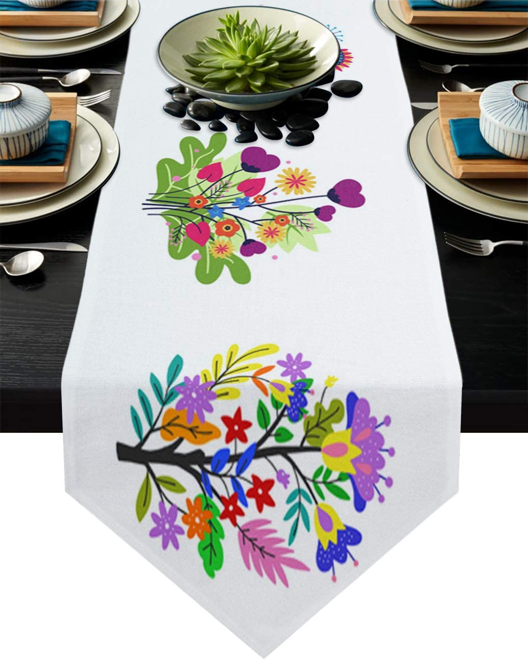 Amazon Com Colorsum Floral Summer Geometric Pattern Table Runner For Dining Room Minimalist Blossoming Flower Illustrations Table Decor Farmhouse Runner For Kitchen Wedding Bridal Shower Decorations 16x72inch Home Kitchen