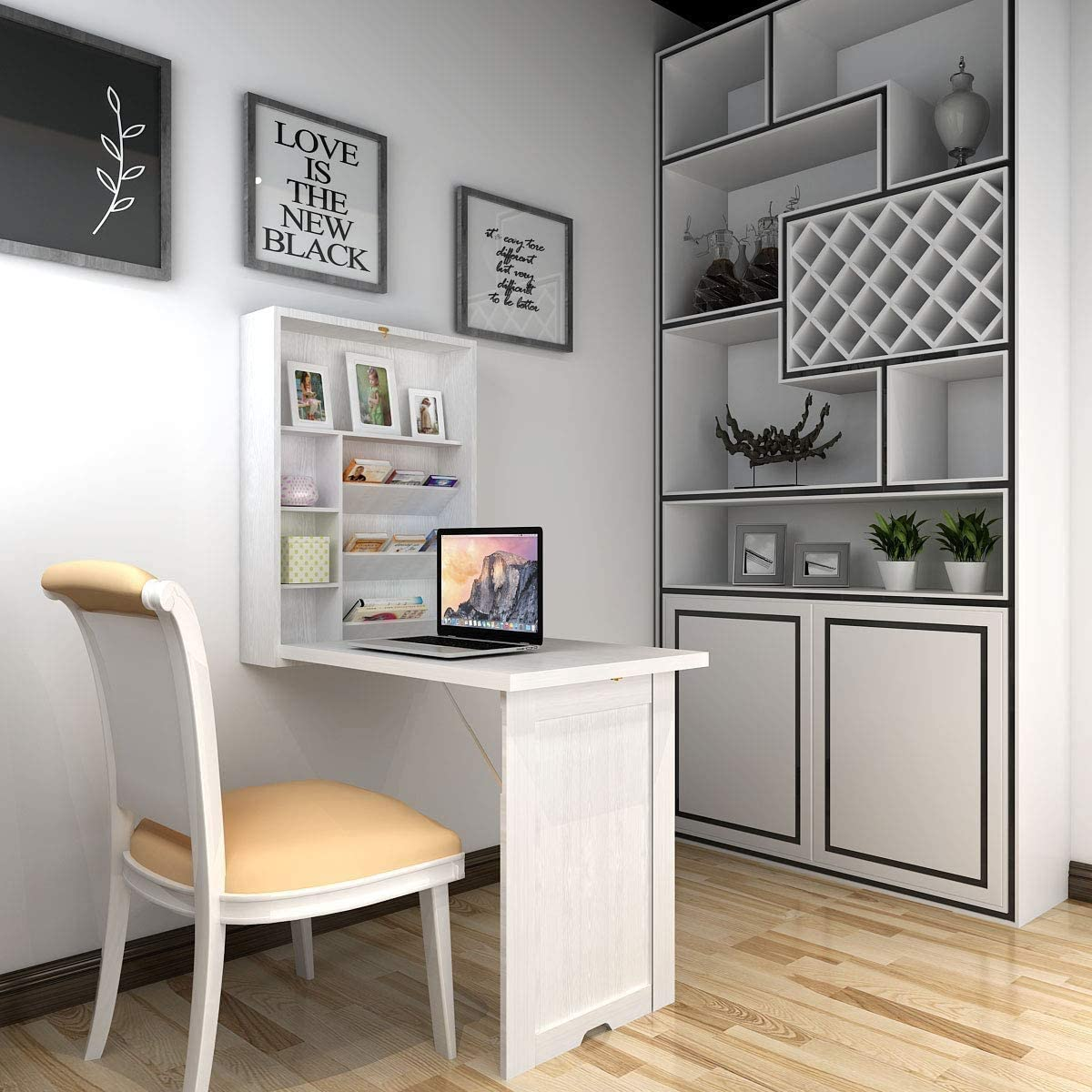ARLIME Wall Mounted Table, Classified Storage Desk, Foldable Multiple-Purpose Table, Work Station with Storage Shelves, Floating Convertible Cabinet, for Apartment, Home Office Desks (White)