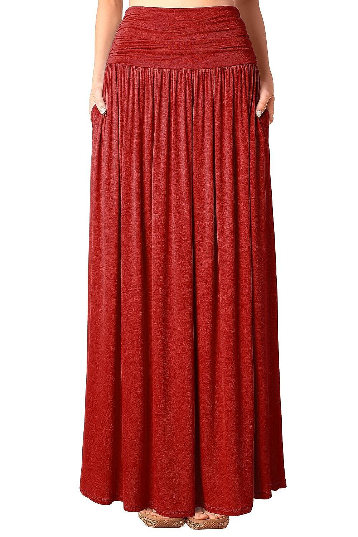 Djt Jupe en Jersey Maxi Long Taille Extensible Poches- Femme